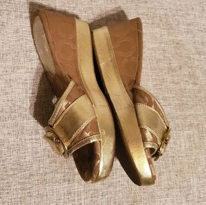 Coach Shoes - Coach gold wedges